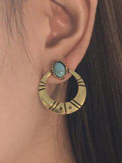 Artificial Turquoise Tribal Moon Earrings - Golden