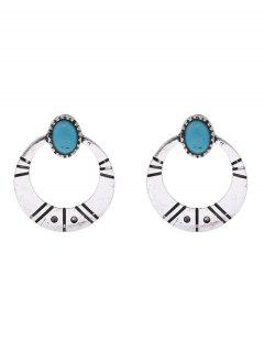 Artificial Turquoise Tribal Moon Earrings - Silver