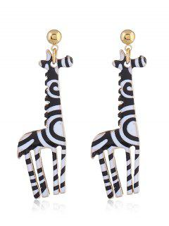Cute Alloy Giraffe Earrings - Black White