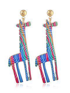 Cute Alloy Giraffe Earrings - Blue Green