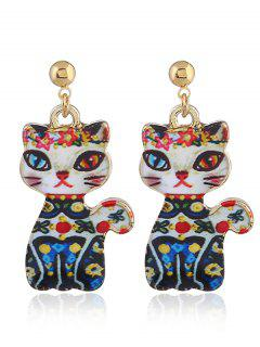 Funny Alloy Kitten Earrings - Blue