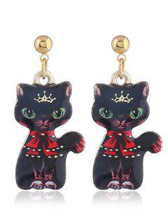 Funny Alloy Kitten Earrings - Red With Black