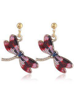 Cute Alloy Dragonfly Earrings - Red