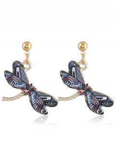 Cute Alloy Dragonfly Earrings - Gris