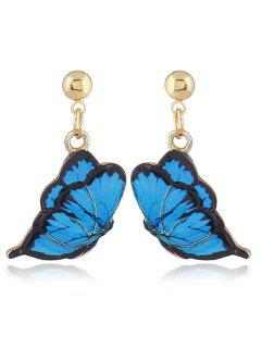 Cute Alloy Butterfly Earrings - Blue