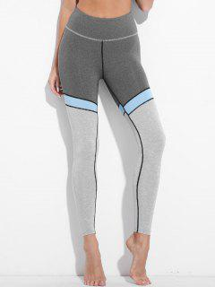 High Waisted Color Block Active Leggings - Gray L
