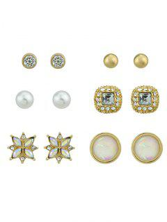 Round Rhinestone Faux Pearl Stud Earrings Set - Golden