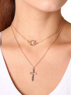 Faux Pearl Crucifix Circle Layered Collier - Or
