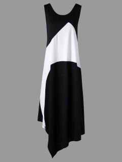 Robe Maxi à Manches Longues Et Blocs De Couleur - Blanc-noir 5xl