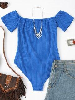 Off Shoulder Plain Ribbed Bodysuit - Blue M