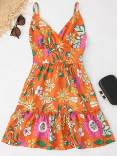 High Waist Floral Print Backless Cami Dress - Floral M