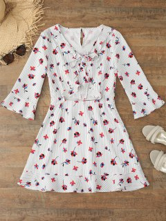 Flare Sleeve Floral Striped Bowtie Dress - Floral M