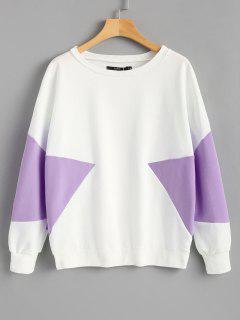 Piped Two Tone Sweatshirt - Purple L