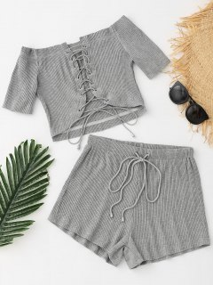 Lace-up Ribbed Crop Top And Drawstring Shorts - Gray L