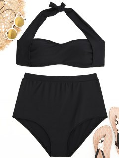 Plus Size Halter High Waisted Bikini Set - Black 4xl