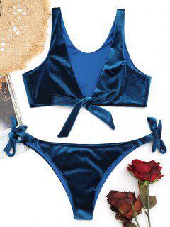 Low Cut Bowtie Velvet Bikini Set - Peacock Blue M
