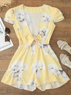 Plunging Neck Ruffles Floral Print Romper - Floral S