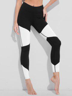 Two Tone High Waisted Active Leggings - White And Black Xl