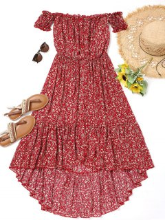 Tiny Floral High Low Dress - Red S