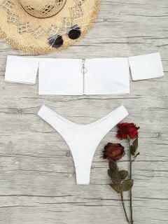 Zip Front Off Shoulder Thong Bikini Set - White M