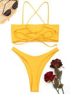 Kreuz Und Quer Geschnittenes Tanga-Bikini-Set - Ingwer-gelb S