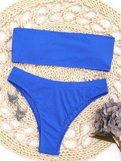 Textured Bandeau Bikini Set - Blue S