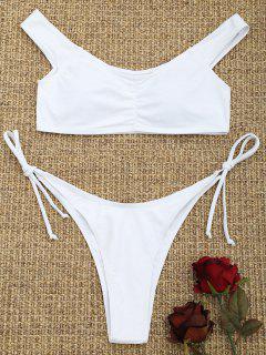 High Cut Scrunch Front String Bikini Set - White S