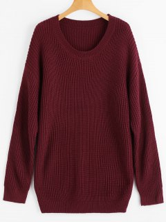 Drop Schulter Longline Chunky Pullover - Weinrot
