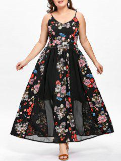 Robe Florale Bohémienne Grande Taille - Noir 2xl