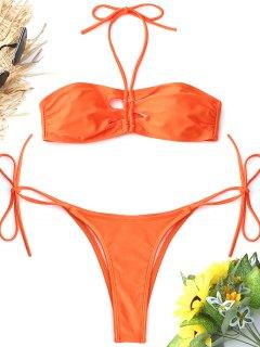 Bralette Hohe Schlitz String Bikini Set - Roter Zirkon L