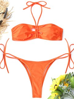 Bralette High Cut String Bikini Set - Roter Zirkon S