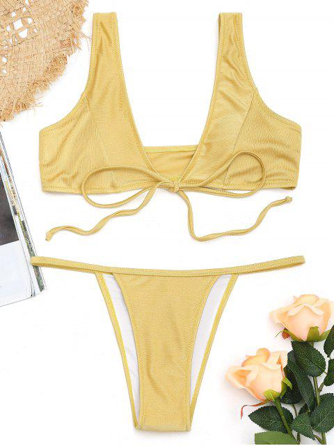 chic Soft Front Tie Thong Bikini Set - YELLOW L Mobile