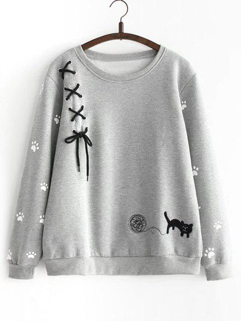 fashion Criss Cross Ribbon Footprint Sweatshirt - GRAY ONE SIZE Mobile