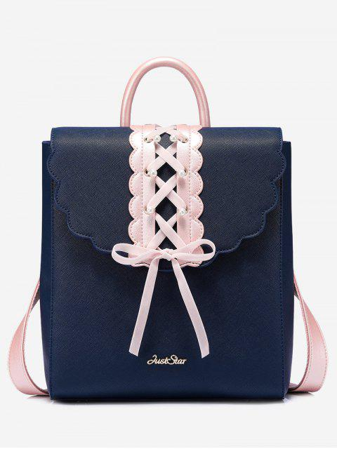 trendy Bow Criss Cross Faux Pearl Backpack - BLUE  Mobile