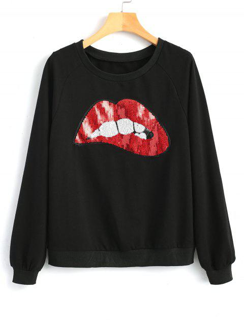 shops Contrasting Lips Sequined Sweatshirt - BLACK S Mobile