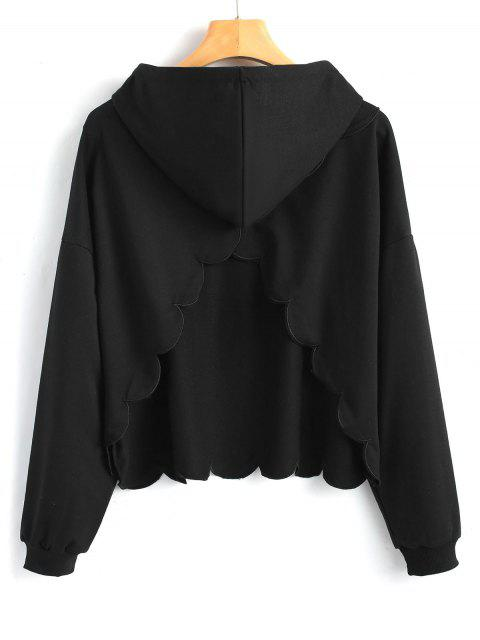womens Cut Out Piped Scalloped Hoodie - BLACK S Mobile