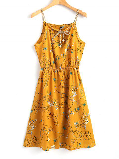 Robe Courte Florale à Fausse Perle - Moutarde XL Mobile