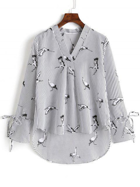 Blusa de cuello alto con cuello alto y escote en V - Raya L Mobile