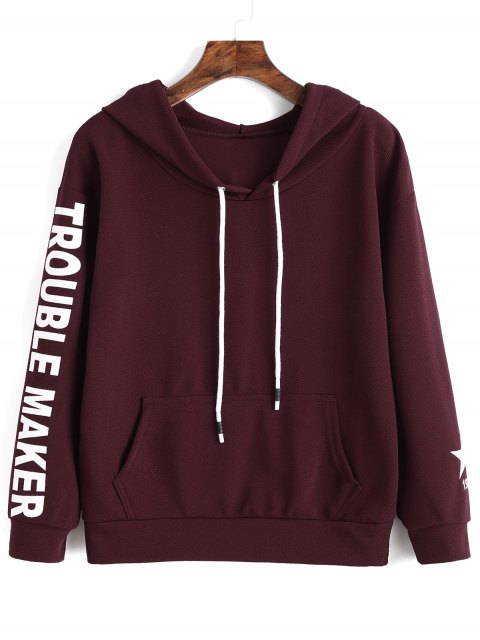 shop Letter Graphic Kangaroo Pocket Hoodie - WINE RED S Mobile