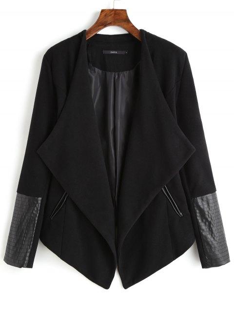 unique Faux Leather Panel Asymmetric Draped Jacket - BLACK L Mobile