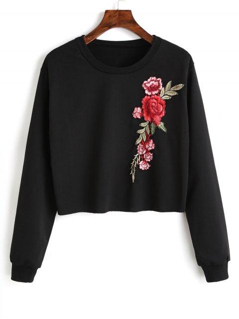 Sweat-shirt à Patchwork Floral Ras du Cou - Noir M Mobile