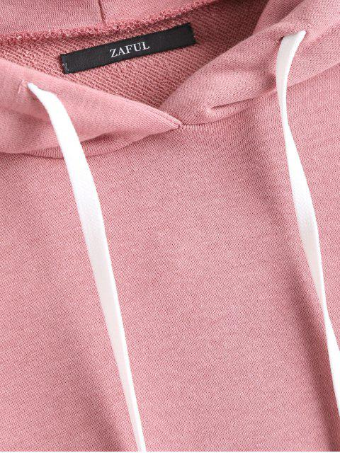 online Drop Shoulder Plain Drawstring Hoodie - CAMEO L Mobile
