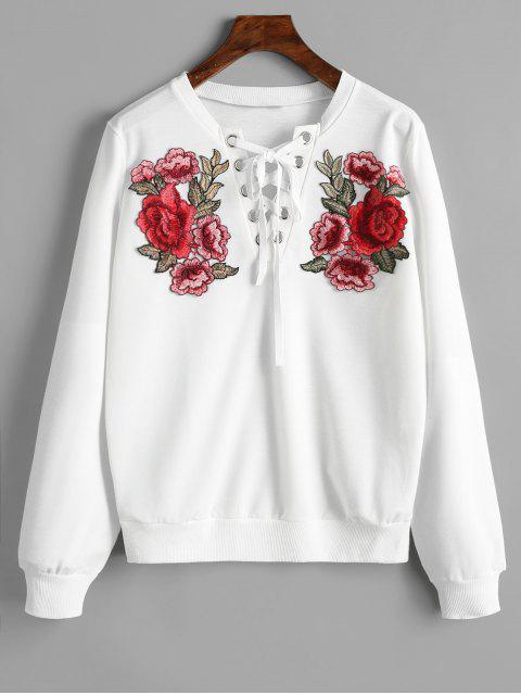 fashion Lace Up Front Floral Patched Sweatshirt - WHITE S Mobile