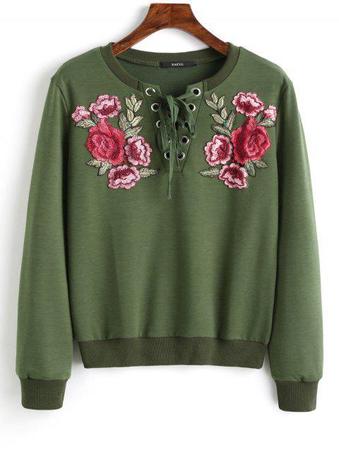 Sweat-shirt à Broderie Florale à Lacets - Vert Armée S Mobile