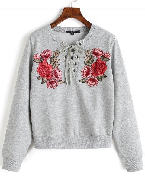 unique Lace Up Front Floral Patched Sweatshirt - GRAY S Mobile