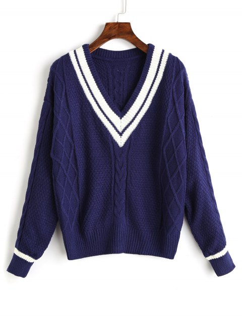 fashion V Neck Contrast Cable Knit Sweater - CERULEAN ONE SIZE Mobile