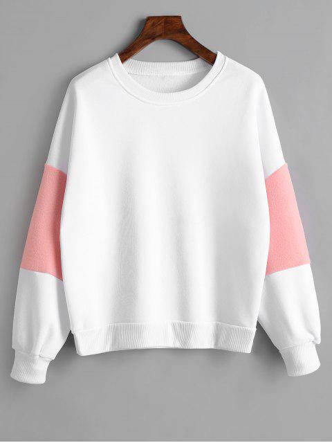 Sweat-shirt Oversize Manches Bouffantes en Fausse Fourrure Décoratives - Blanc S Mobile
