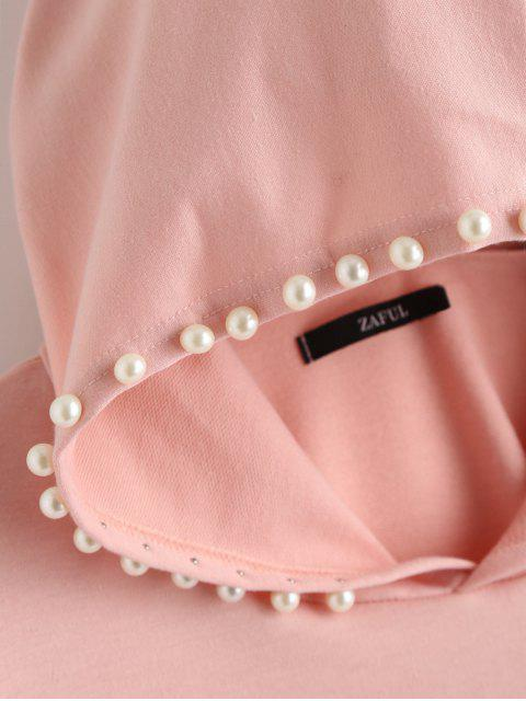 trendy Plain Beading Hoodie - PINK L Mobile