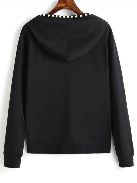 fancy Plain Beading Hoodie - BLACK L Mobile