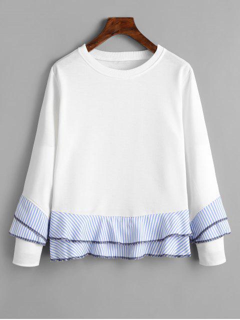 Drop Shoulder Striped Ruffle Hem Sweatshirt - Blanco S Mobile